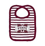 NCAA Mississippi State Bulldogs Infant Stripe Knit Bib, One Size, Maroon/White