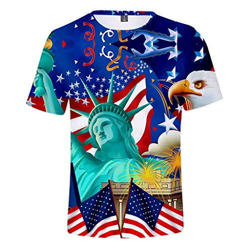 Men American Flag Printed Sports Shirts Pure Large Size Compression Blouse Tops