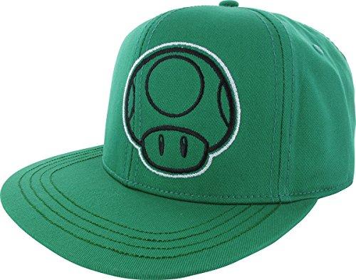 Super Mario 1 Up Mushroom Snapback Green Flat Bill Video Game Hat Cap Nintendo