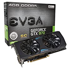 EVGA GeForce GTX 970 4GB SC+ GAMING ACX 2.0, 26% Cooler and 36% Quieter Cooling Graphics Card 04G-P4-2977-KR