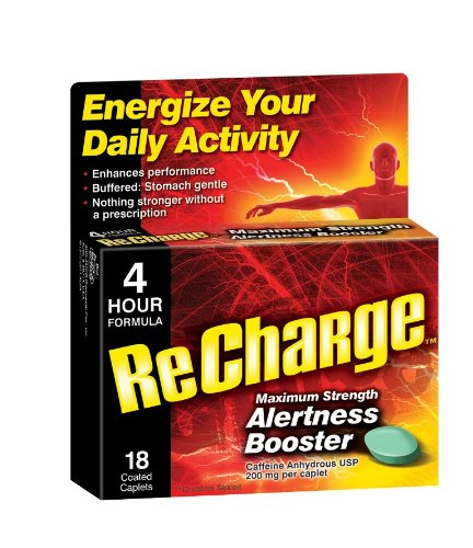 Pep-Back ReCharge Maximum Strength Alertness Booster, 18 Count Caplets (Pack of 3)