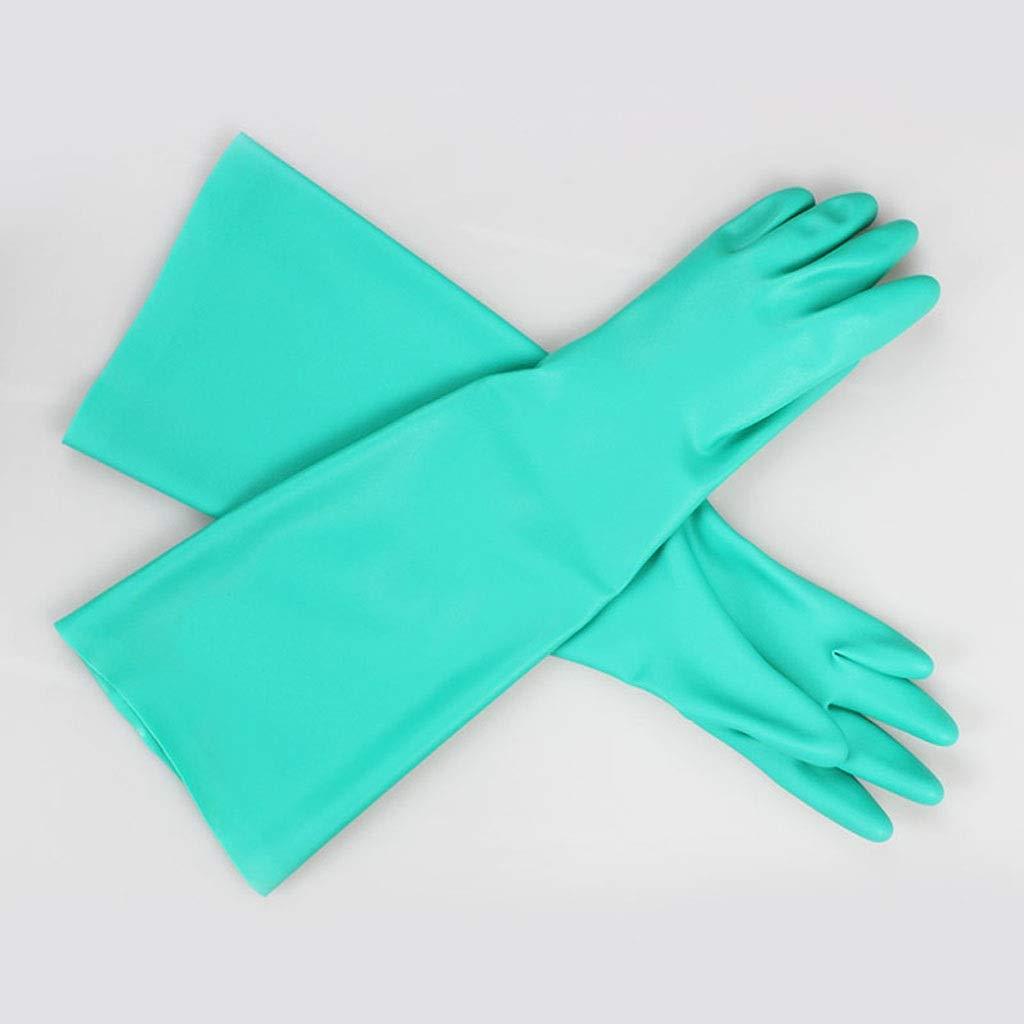 SHWSM Chemical Gloves, Long Protective Gloves, Acid and Alkali Resistant Nitrile Rubber Gloves, Green (Size : M)