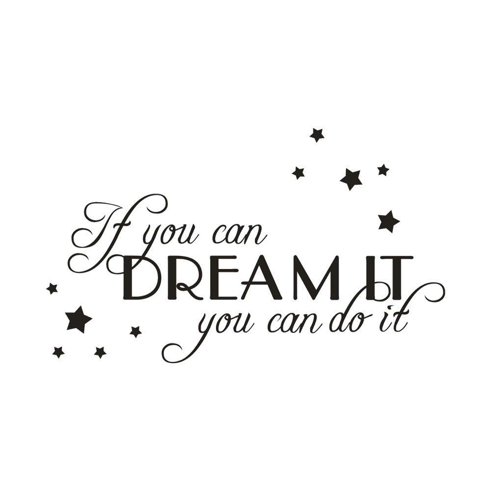 b43ce3214bf0e Wall Stickers 'If You Can Dream It You Can It' Vinyl Wall Decal Words Quote  Wall Art Sticker Home Decor for Bedroom Living Room (Black,)