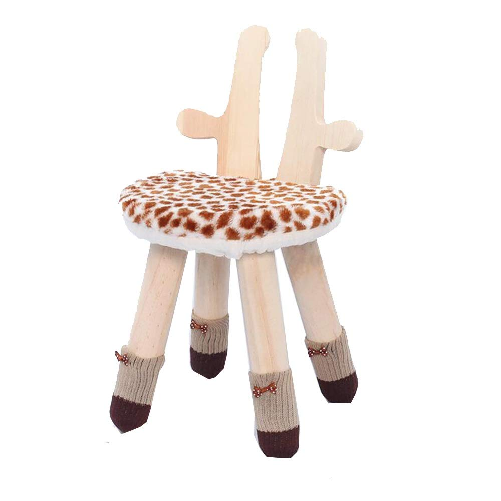 YUMEIGE Stools Wood Stool 10.6×10.6×9.8×16.5inch Load 90kg,Foot Stool Washable,Stool for Child Cute Style、Bedroom Living Room use Foot Stool Wood Stool 、Child Chair (Color : Giraffe Color) by YUMEIGE