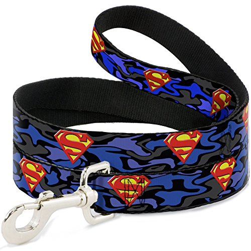 "Buckle-Down Pet Leash - Superman Shield Camo Blue - 4 Feet Long - 1"" Wide"