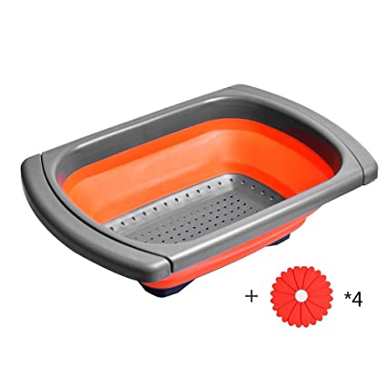Ouchan Collapsible Colander Over The Sink Colander With Extendable Handles    Collapsible Strainer With Free Coaster