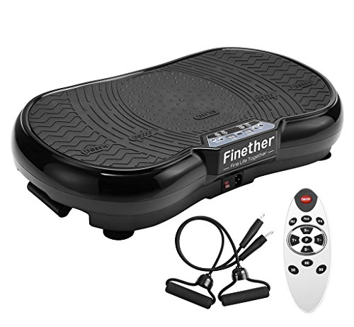 Finether Vibration Plate Vibration Platform, Whole Full Body Shape Exercise Machine with 99 Speed Levels Remote Control 3 Vibration Areas 2 Resistance Bands for Fitness Massage, 331 lbs Load Capacity