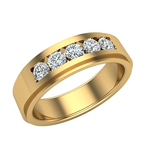 0.75 ct tw Men's Wedding Band 5 Stone Channel Setting 18K Yellow Gold (Ring Size 9.5)