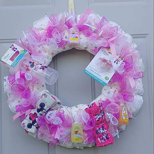Baby Girl Diaper Wreath/Deco Mesh Wreath/Deco Mesh Diaper Wreath/Baby Girl Wreath/Pink Baby Wreath/Pink Diaper Wreath Handmade