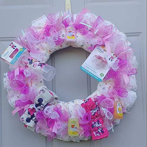 (Baby Girl Diaper Wreath/Deco Mesh Wreath/Deco Mesh Diaper Wreath/Baby Girl Wreath/Pink Baby Wreath/Pink Diaper Wreath)