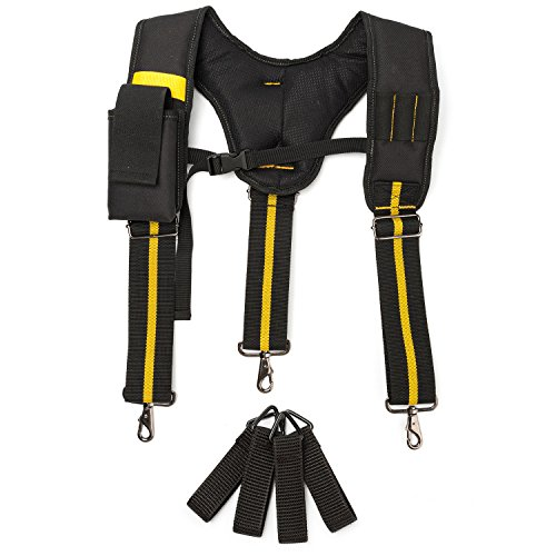 Melo Tough Work Suspenders| Padded Suspenders with Movable Phone Holder Tape Holder Pencil Holder Adjustable Straps, Suspenders Loop Heavy Duty Work for Carpenter Electrician Work Suspension Rig by Melo Tough