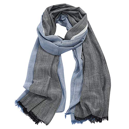 GERINLY Scarves for Mens Double Color Wrap Long Scarf Shawl (Black Navyblue) (Fashion Scarf Men)