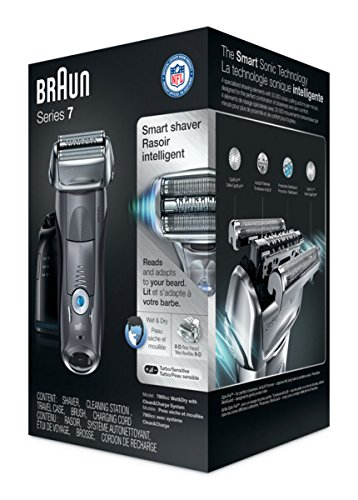 Braun Electric Shaver, Series 7 7865cc Men's Electric Razor / Electric Foil Shaver, Wet & Dry, Travel Case with Clean & Charge System, Premium Grey Cordless Razor with Pop Up Trimmer