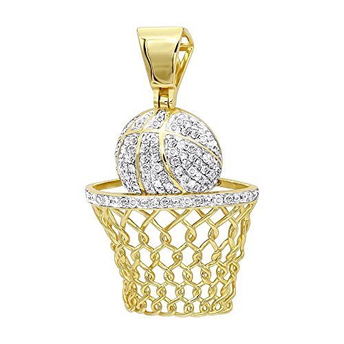 Mens Diamond Jewelry Solid 10k Gold Real Diamond Basketball Pendant 0.8ctw (Yellow Gold) ()