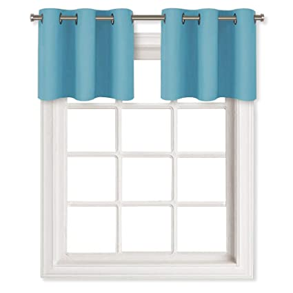 NICETOWN Thermal Insulated Blackout Valances - Energy Efficient Home Decor  Grommet Top Tier Curtains for Bedroom (29 by 18 + 1.2 Inches Header, Teal  ...