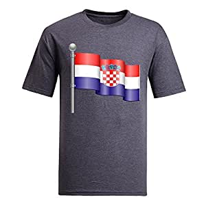 Custom Mens Cotton Short Sleeve Round Neck T-shirt, Printed with World Cup Images gray by supermalls
