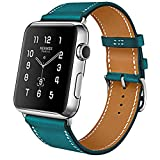 i-Bezel Luxury Series Cow Leather Replacement Band with Buckle for Apple Watch/Sport/Edition - 42mm (Blue)
