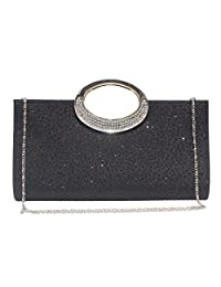 Labair Womens Glitter Rhinestone Frosted Clutch Bag Evening Handbag Wedding Party Prom Purse.
