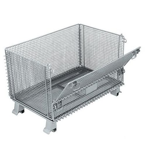 Image of Everest/Durastar - EVJR5-CASTERS Wire Container with Casters, 1/2' x 1/2' Mesh, 1/2 Drop - Full Drop Gate, (2) Swivel and (2) Rigid 3-1/2' x 1-1/4' Phenolic Casters, 20'W x 32'L x21.5'H Cabinet & Drawer Organization