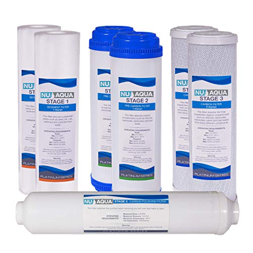 (NU Aqua Platinum Series 1-Year Filter Replacement Set For Standard Under Sink 5-Stage Reverse Osmosis Water Filtration)