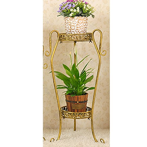 ZHEN GUO Modern 2 Tier Plant Stand, Round Metal Flower Pot Rack, Scroll Rustproof Indoor Outdoor Display Shelf (Color : Gold, Size : Small)