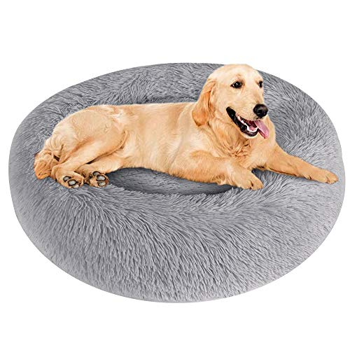 Soft Plush Round Cat Dog Bed, Pet Donut Cuddler Bed for Dogs Cats, Pet Warm Cushion Bed Mat, Dog Cat Warm Cuddler Kennel…