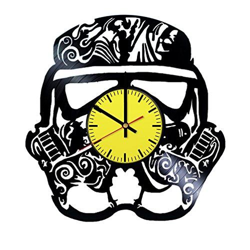 Darth Vader Mask Planet Design Art Vinyl Record Wall Clock - Get unique room wall decor - Gift ideas boys and girls – Interior Decor Unique Modern Art Design ()