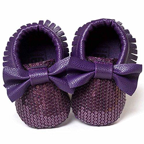 HAPPY CHERRY Calzado de Primeros Pasos Suaves Zapatos Zapatitos sin Cordones con Lentejuelas Lazo Mocasines para Bebés Niños Niñas 12 - 18 Meses 13CM Talla EU 21 Color Púrpura Púrpura