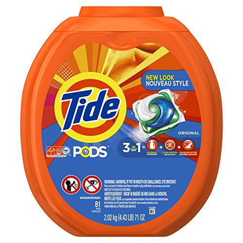 Tide PODS 3 in 1 HE Turbo Laundry Detergent Pacs, Original Scent, 81 Count Tub, Packaging May Vary