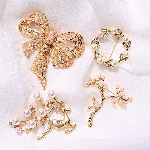(Mystery ornaments) antique gold bow deer twig wreath brooch pearl brooch vintage luxury European and American (Twig Deer)