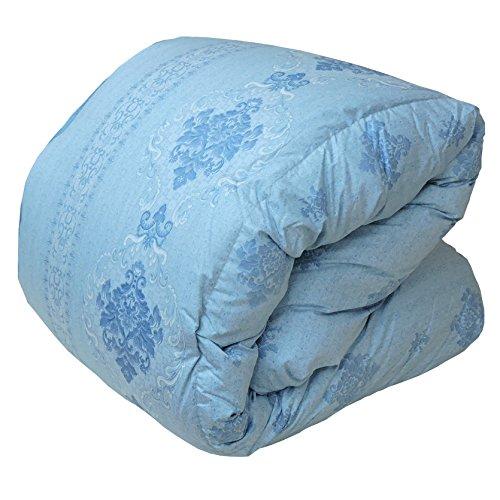 眠り姫 日本製 羽毛布団 ハンガリー産ホワイトマザーグースダウン 93% キング シャルレーヌ ブルー 230×210cm 60サテン 超長綿 二層立体 400dp かさ高165mm以上 B016TEP3IY キング|ブルー ブルー キング