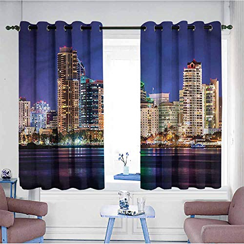 SAMEK Window Curtains,USA Colorful Skyline of San Diego,Space Decorations,W63x72L