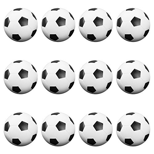 12 Pack of Soccer Style Foosballs, Black & White Textured - for Standard Foosball Tables & Classic Tabletop Soccer Game Balls by Brybelly