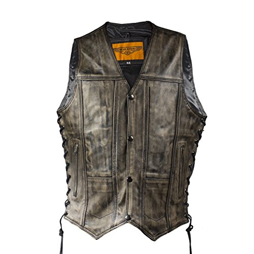 Mens Distressed Brown Naked Leather Motorcycle Vest with 10 Pockets Solid Back (46, Brown)