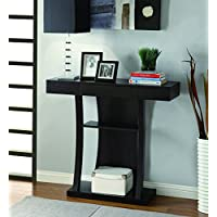 Coaster Contemporary Cappuccino T-Shaped Console Table with 2 Shelves