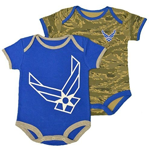 - U.S.A.F. 2pk Baby Boys Air Force Bodysuits Blue Gray 9-12 Months