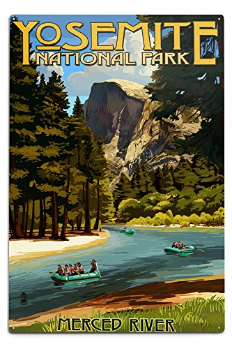 Lantern Press Yosemite National Park, California - Merced River Rafting (12x18 Aluminum Wall Sign, Wall Decor Ready to Hang)
