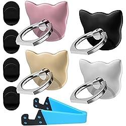 Pack de 4 soportes para anillo de teléfono celular con forma de gato, 1 paquete de soporte para tableta V de soporte para smartphone, DanziX 360 ° de rotación Soporte universal para soporte de dedos, plata, oro rosa, negro, dorado y azul