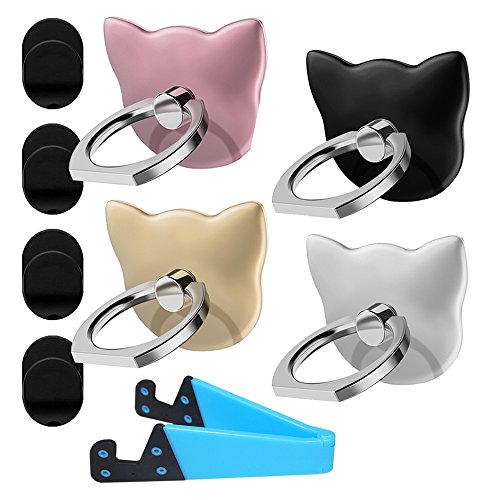 4 Pack Cat Shape Cell Phone Ring Holder,1 Pack V Smartphone Holder Tablet Stand,DanziX 360°Rotation Universal Finger Kickstand Grip-Silver,Rose Gold,Black,Gold,Blue
