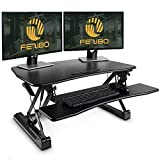 Standing Desk Converter with Height Adjustable – FEZIBO Black 36' Stand up Converter Sit to Stand Dual Monitor Desktop Riser