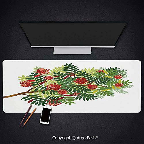 Heat Transferred Printing Waterproof Keyboard Pad,Large Mouse Mat for Gamer,4mm Thick,35.5x11.8,Rowan,Graphic Tree Branch with Green Colored Leaves and Berries Seasonal Decorative,Red Dark Green App