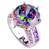 PSEZY Mystic Rainbow Topaz Amethyst rings for Women Vintage Engagement Rings Promise Rings MAE449-B449 8.0