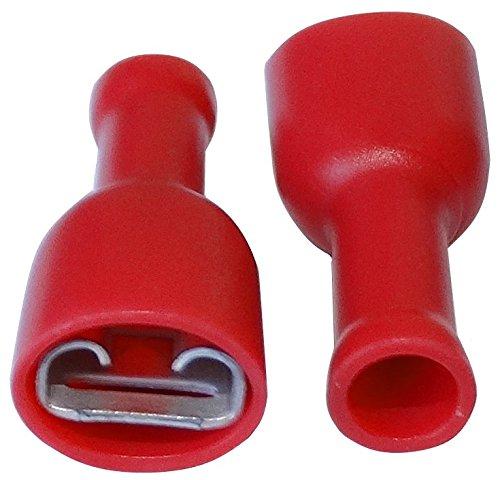 AERZETIX: 100 x Terminales electricos planos hembra 6.3mm 0.8mm 0.5-1mm2 aislado rojo SK2-C11508-R546x100