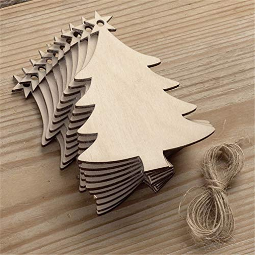 Myhouse 10pcs Wooden Hanging Ornaments Christmas Tree Pendants DIY Crafts Set Home Decoration, Christmas Tree Style