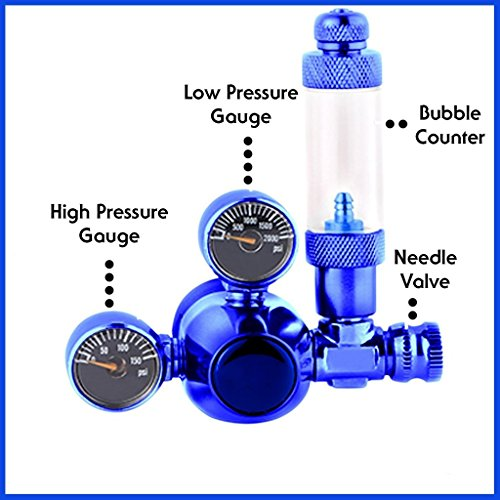 MOD Complete Aquarium CO2 Regulator Blue Mini Stainless Steel Dual Gauge Display Bubble Counter & Check Valve w/Solenoid 110V Fits Standard US Tanks - LP150 PSI - HP2000 PSI Accurate & Easy to Adjust