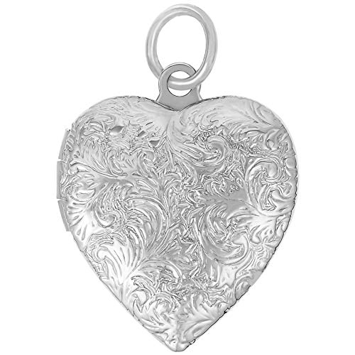 Lifetime Jewelry Heart Locket Necklace, Antique, 24K Gold Over Semi Precious Metals, Guaranteed for Life (Choice of Pendant with or Without Chain) (Rhodium Locket Only)