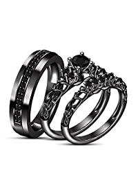 TVS-JEWELS His and Hers Couples Matching Rings 925 Silver Engagement Ring Bridal Sets & Men's Wedding Band