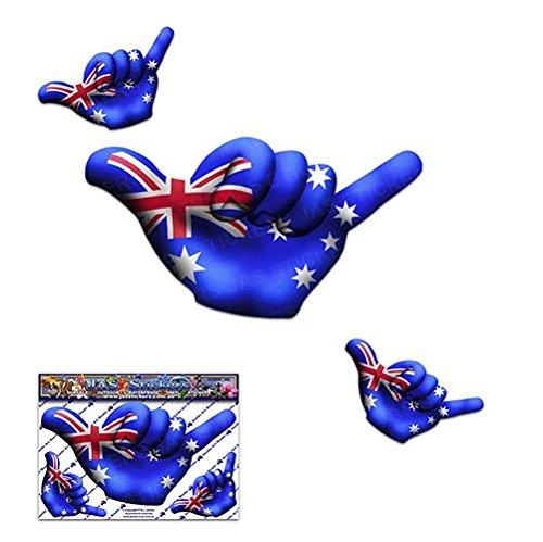 Piccola bandiera AUSTRALIA HANG LOOSE Decalcomanie divertenti adesivi per auto da surf - ST00055AU_SML - JAS Stickers