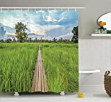 Outdoor Shower Curtain House Decor By Ambesonne, 100 Year-Old Wooden Bridge Between Rice Field With Sunlight At Khonburi Thailand, Bathroom Accessories, with Hooks, 69W X 70L Inches, Blue Green Brown