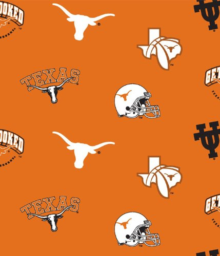 NCAA University of Texas Longhorns Team Licensed All Over Cotton Fabric